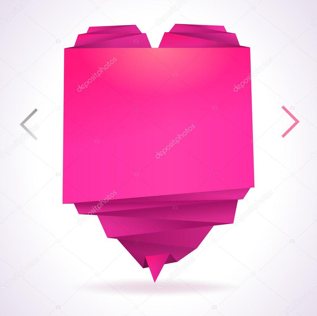 Vorlage mit Origami-papier-Herz mit Platz für Foto und Nachricht ...