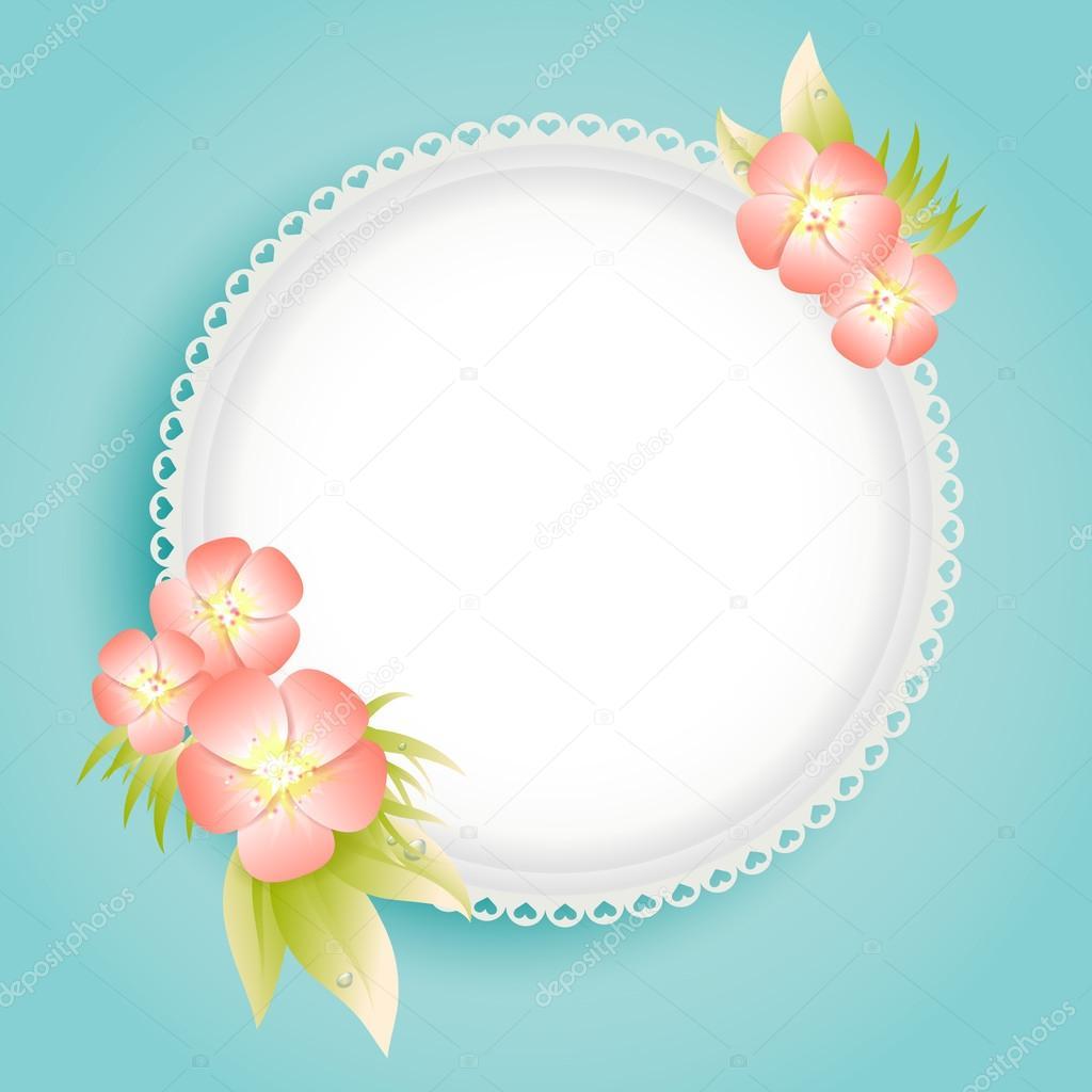 plantilla de tarjeta azul con flores en colores pastel — Vector de ...