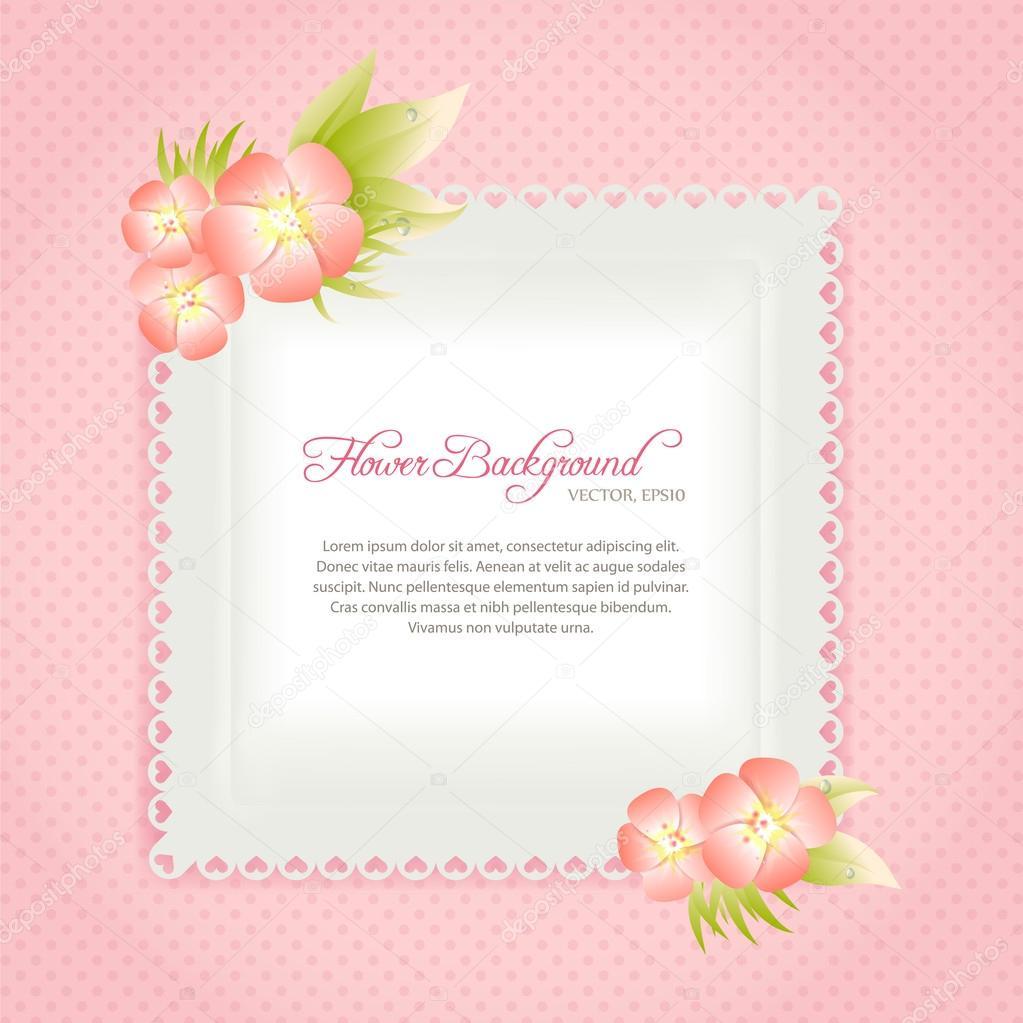 plantilla de tarjeta rosa con flores en colores pastel — Archivo ...