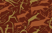 Photo Vector pattern about hunting with primitive figures