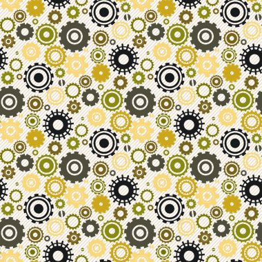 Seamless retro pattern with cogwheel