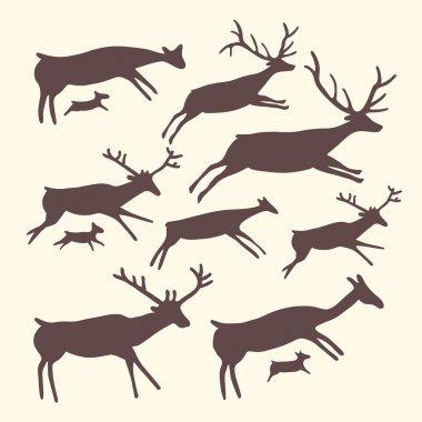 Vector background with herd of deers