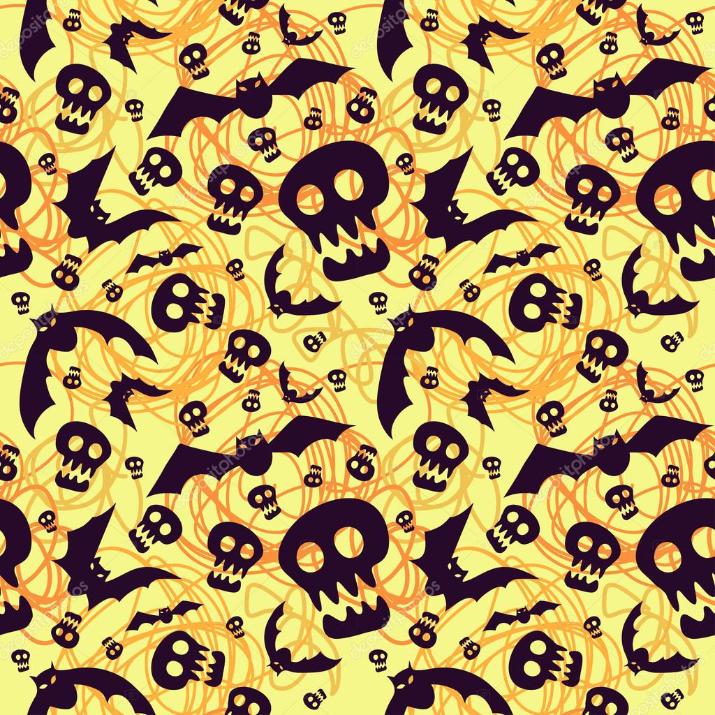 Vector halloween pattern with skulls and bats — Stock Vector ...