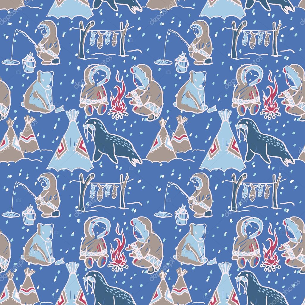 Life at the north pole seamless pattern