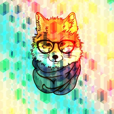 Hipster fashion fox illustration