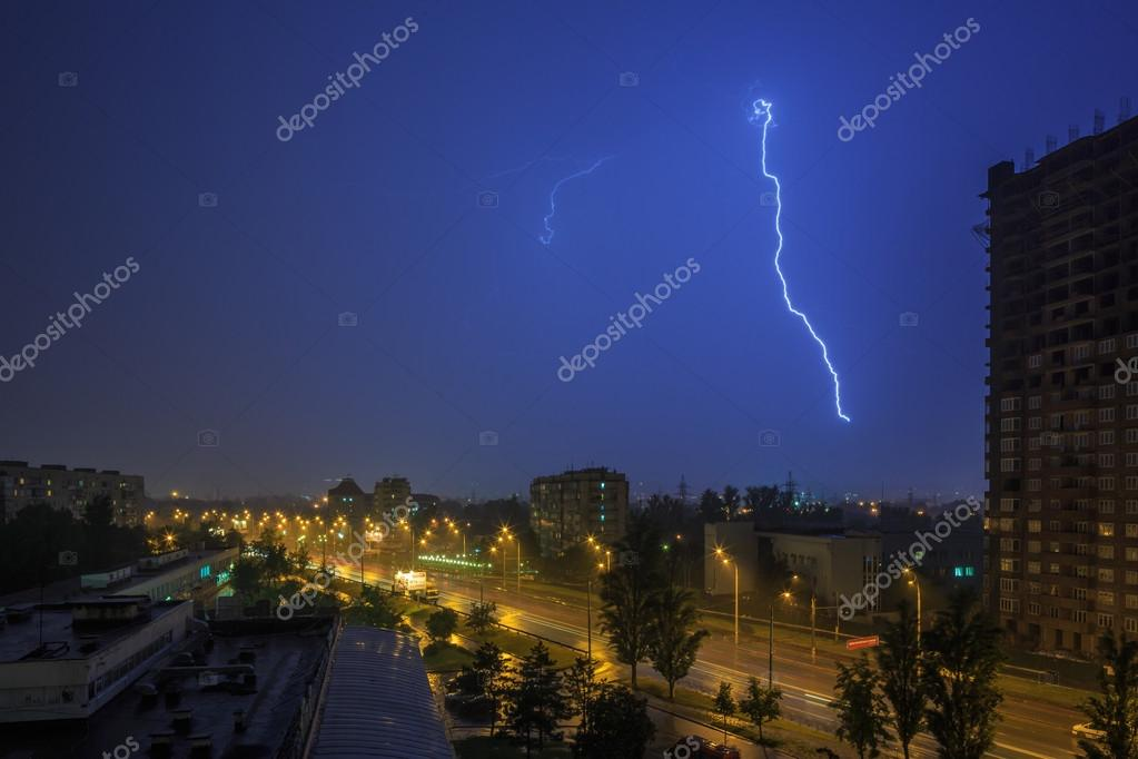 Lightning and cityscape