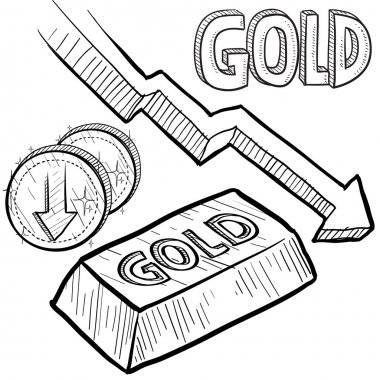 Gold prices decreasing sketch