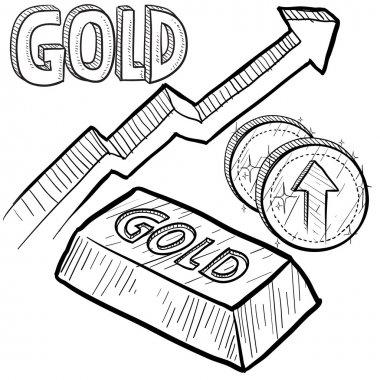 Gold prices increasing sketch