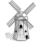 Photo Traditional Dutch windmill sketch