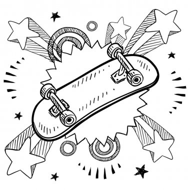 Skateboard excitement sketch