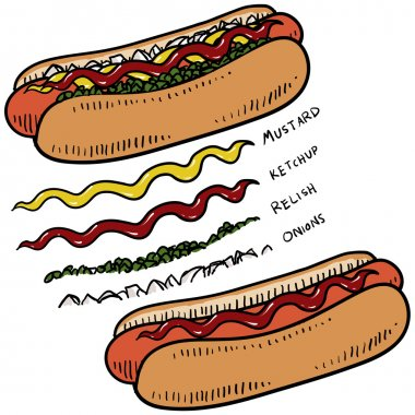 Doodle style hot dog with bun and condiments sketch in vector format clip art vector
