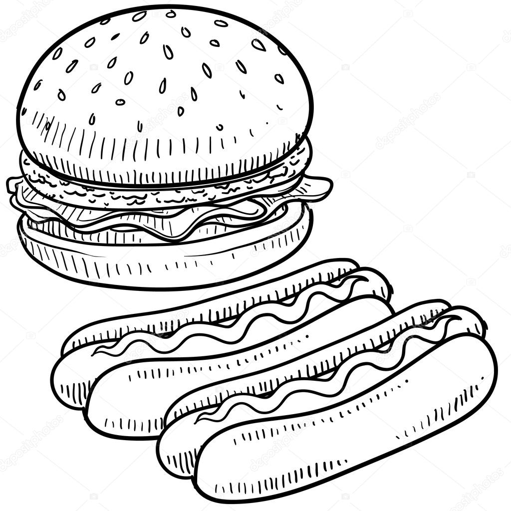 bosquejo de hamburguesas y hot dogs — Vector de stock © lhfgraphics ...