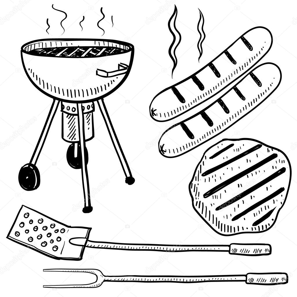 Cookout border clipart hot dog cookout invite stock vector art - Backyard Barbecue Or Cookout Objects Sketch Royalty Free Stock Vectors