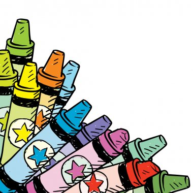 Colorful crayon corner tab