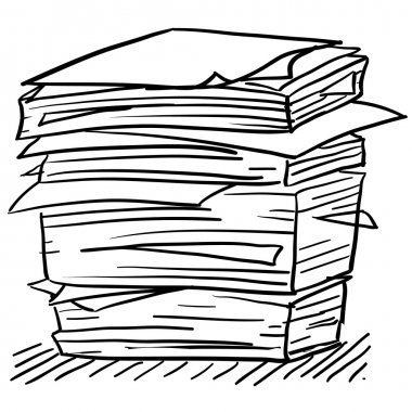 Stack of work papers sketch