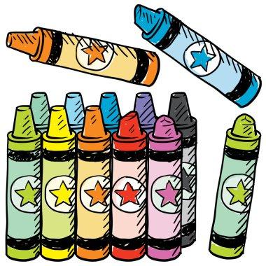 Colorful crayons vector sketch