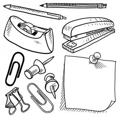 Office supplies assortment vector sketch