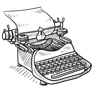 Retro manual typewriter sketch