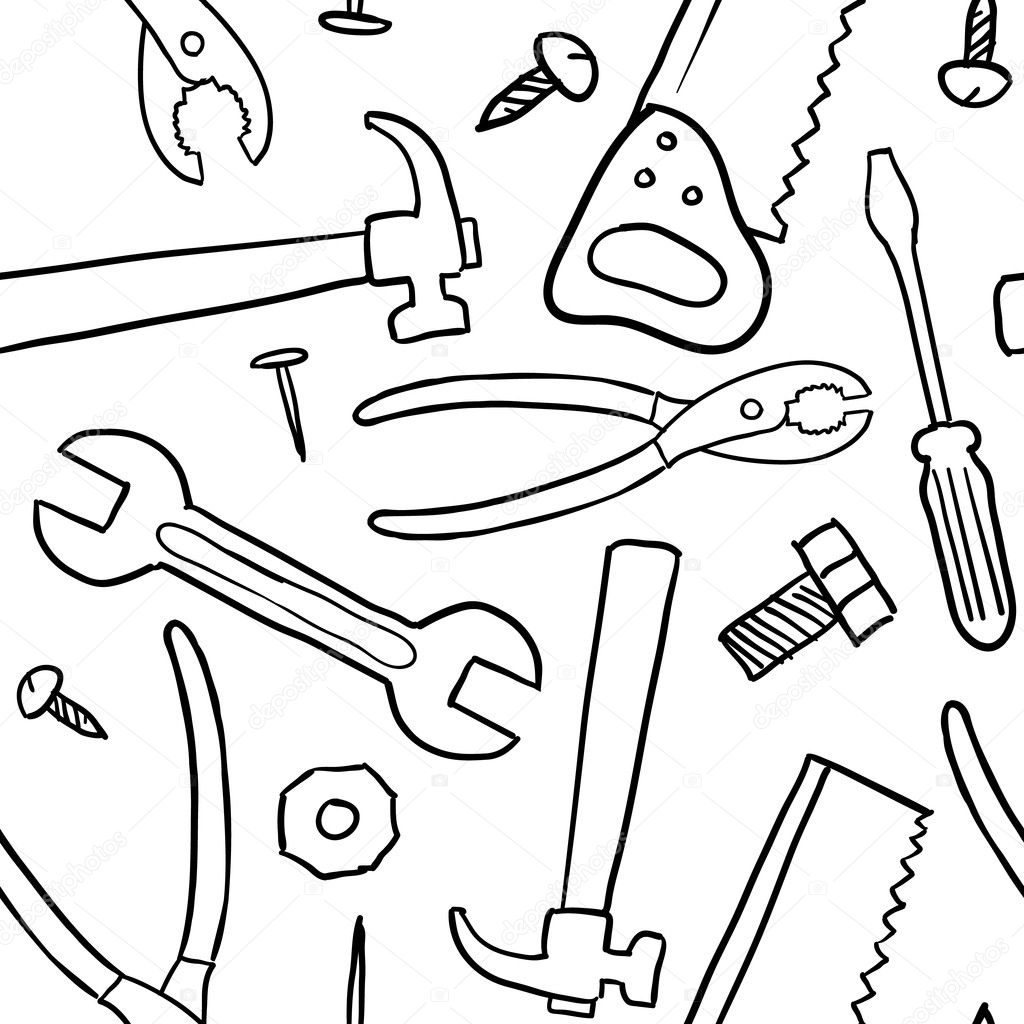 Seamless tool or mechanic vector background