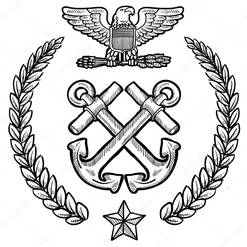 Us navy military insignia stock vector lhfgraphics 13920808 doodle style military insignia for the us navy including crossed anchors and wreath vector by lhfgraphics biocorpaavc