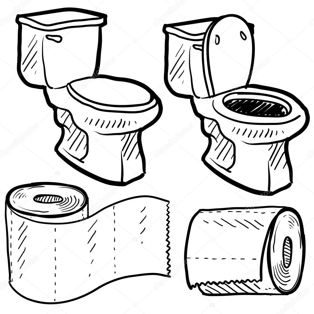Toilet And Bathroom Objects Sketch Stock Vector C Lhfgraphics