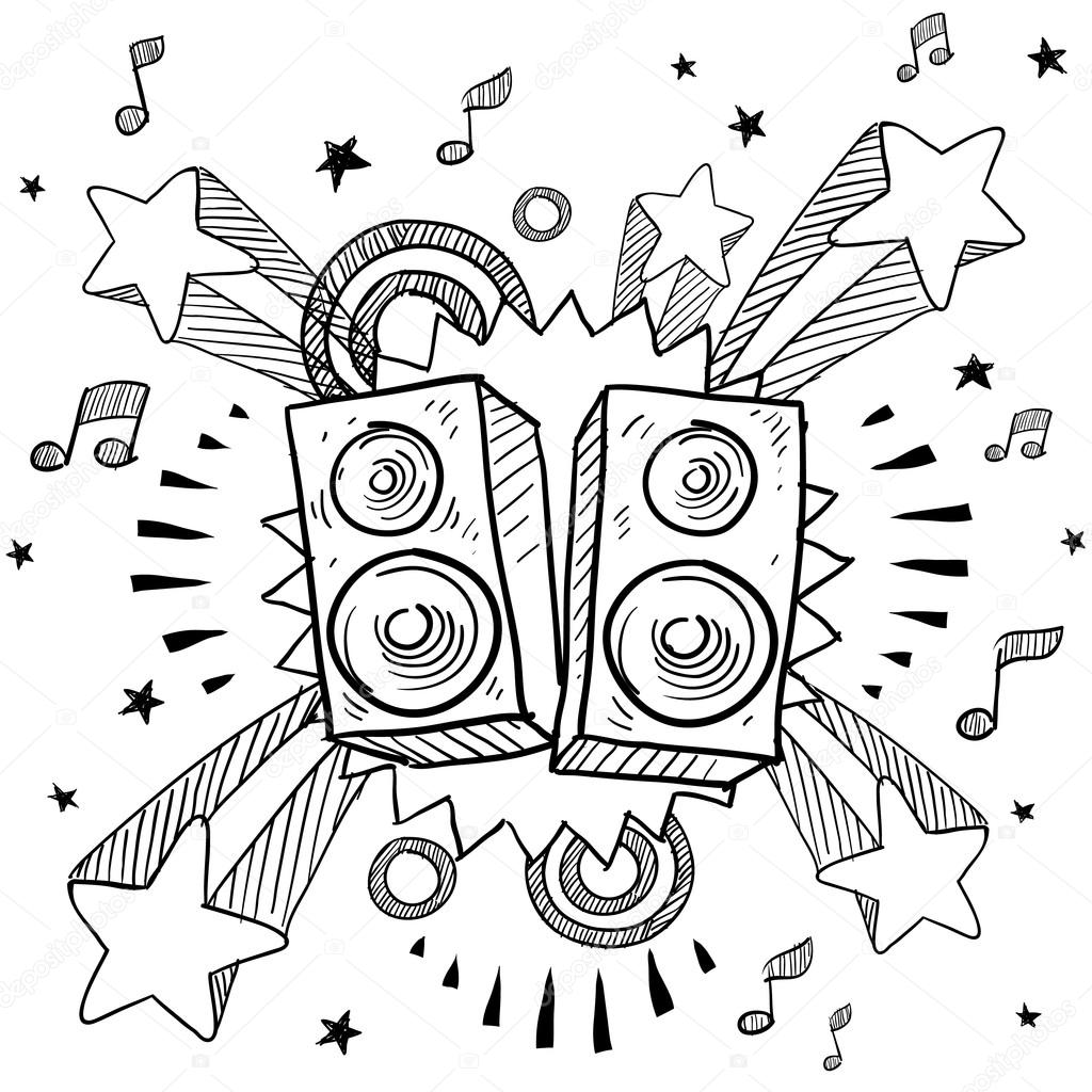 stereo speakers on pop background sketch  u2014 stock vector