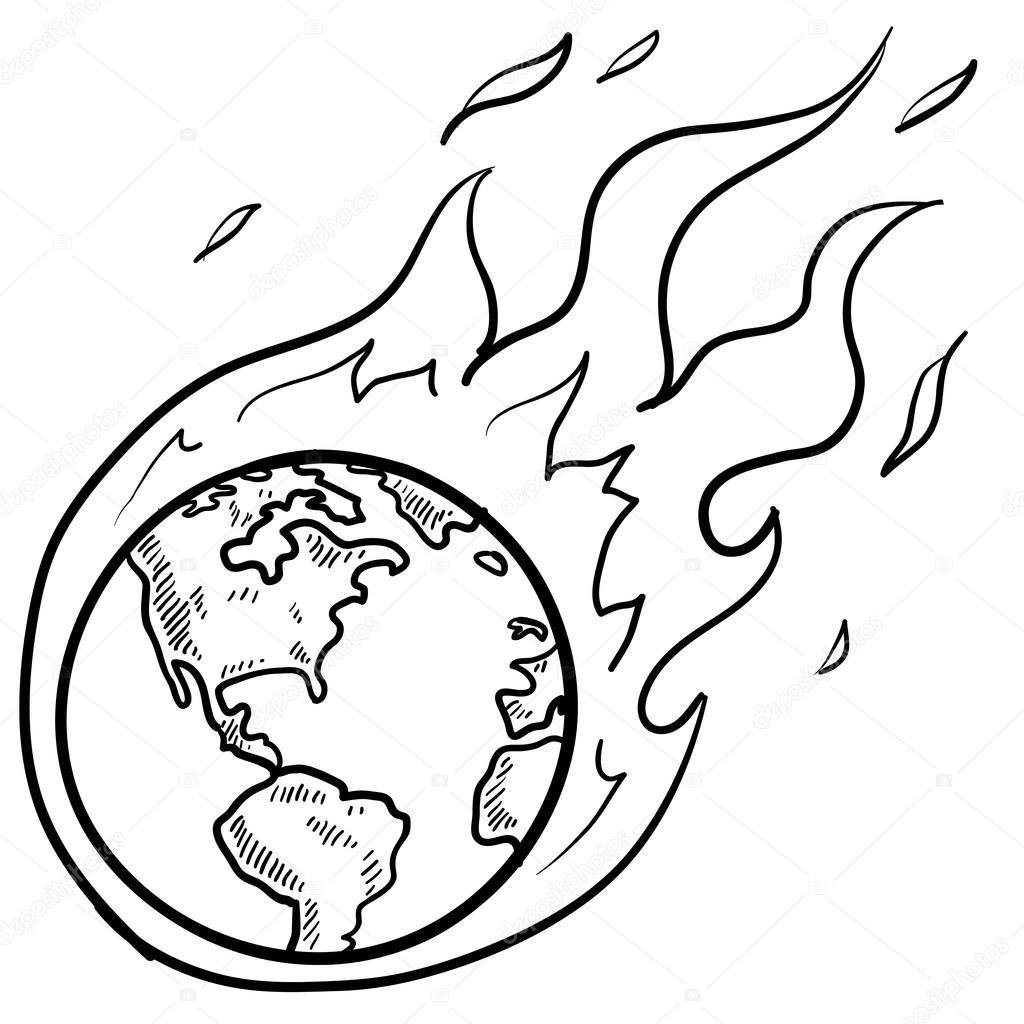 bosquejo de crisis del calentamiento global — Vector de stock ...