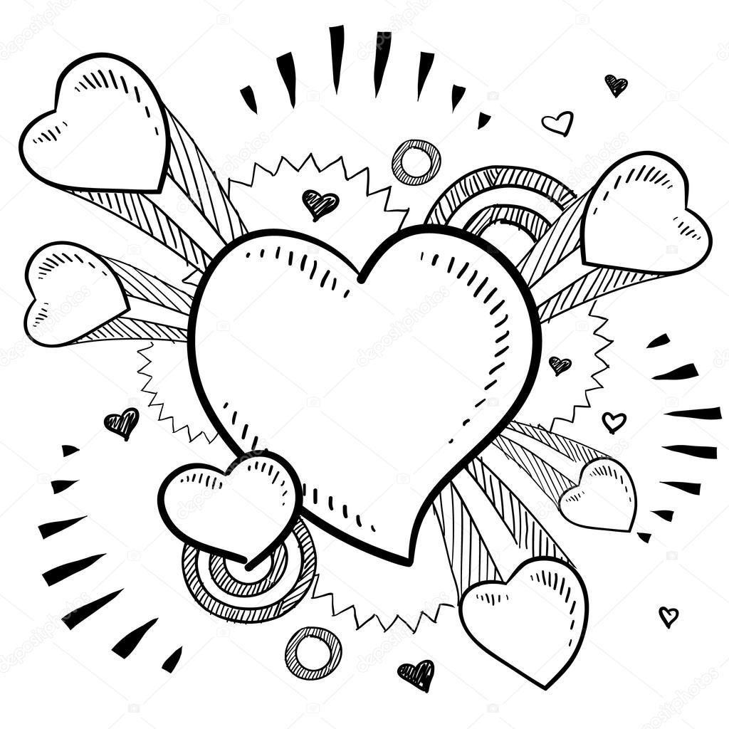 romantische herzskizze  vektorgrafik lizenzfreie