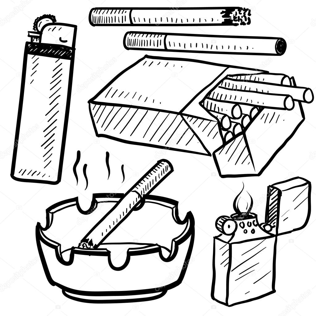 dibujar objetos de fumar cigarrillo — Vector de stock