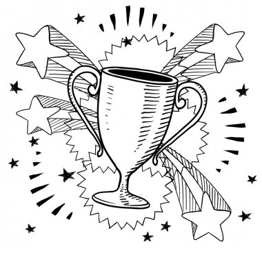 Trophy or award vector sketch