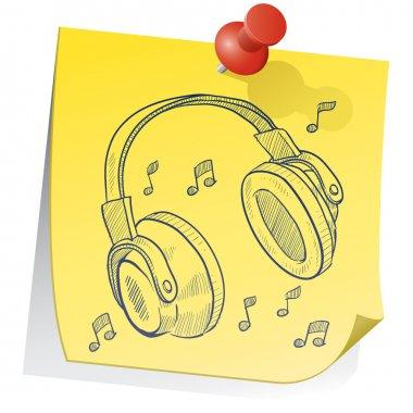 Headphones on sticky note sketch