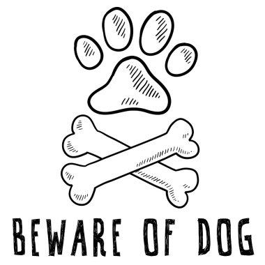 Beware of dog vector sketch