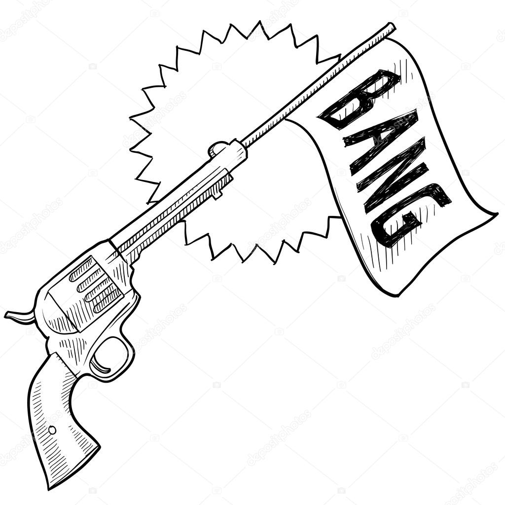 ic pistol with bang flag sketch stock vector lhfgraphics Marine Guns ic pistol with bang flag sketch stock illustration