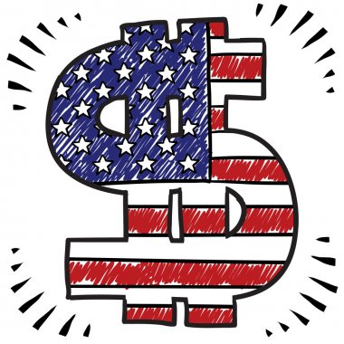 Patriotic American Dollar sketch