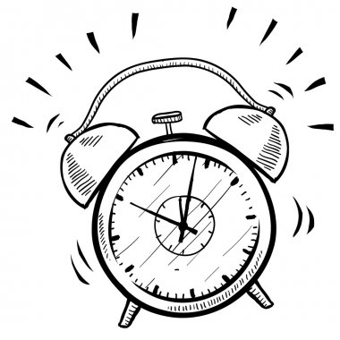 Doodle style retro alarm clock illustration in vector format suitable for web, print, or advertising use. stock vector