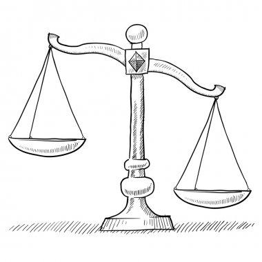Unbalanced scales of justice sketch