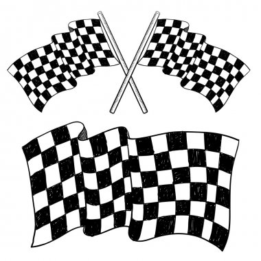 Checkered flag racing sketch