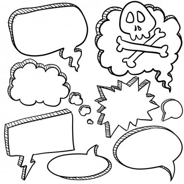 Doodle style cartoon conversation, speech, or thought bubbles in vector illustration format clip art vector