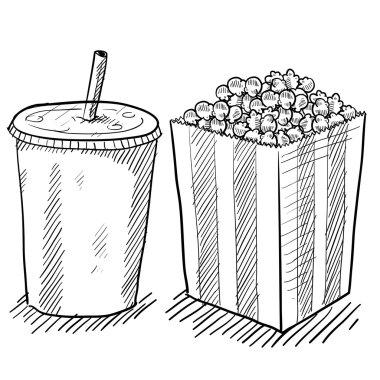 Popcorn and soda sketch