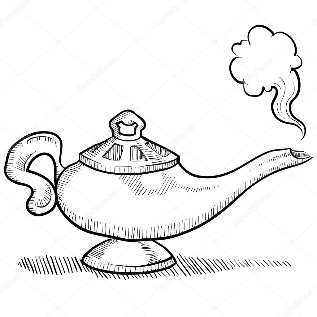 Genie lamp drawing genies lamp vector sketch stock