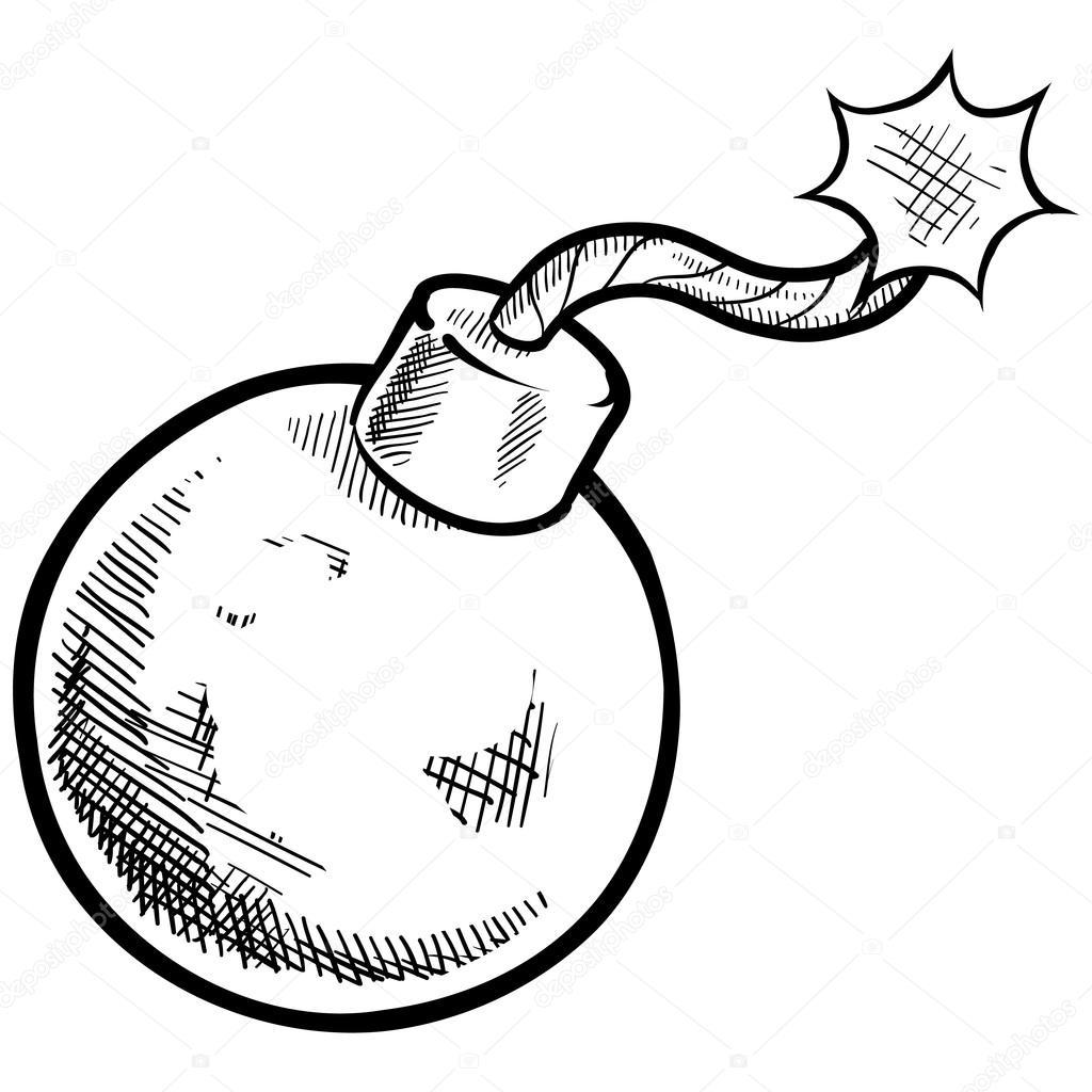 retro kaboom bomb sketch  u2014 stock vector  u00a9 lhfgraphics