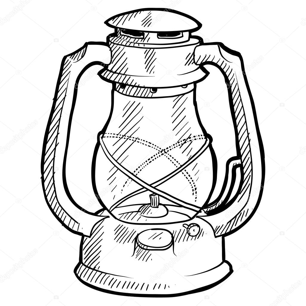 Doodle Style Retro Camping Lantern Illustration In Vector Format Suitable For Web Print Or Advertising Use By Lhfgraphics