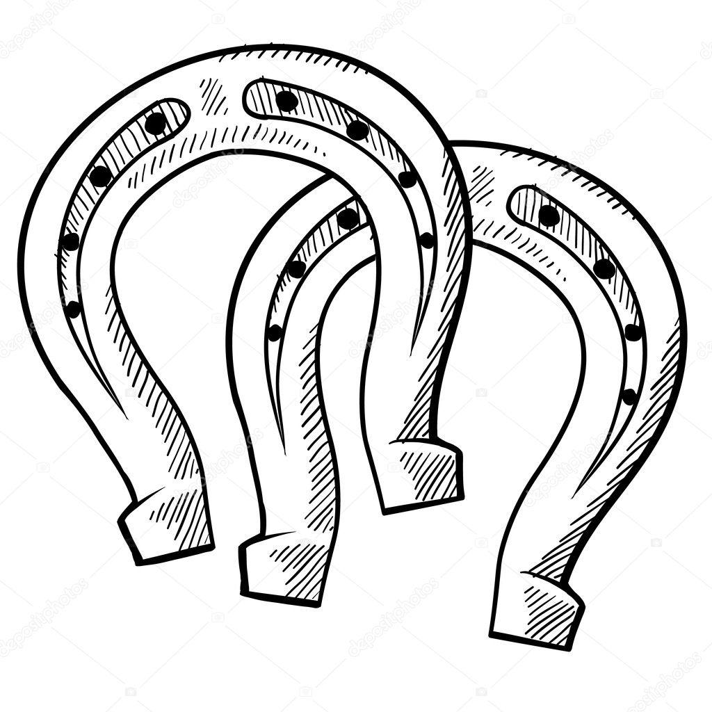 dibujo de herraduras suerte — Archivo Imágenes Vectoriales ...