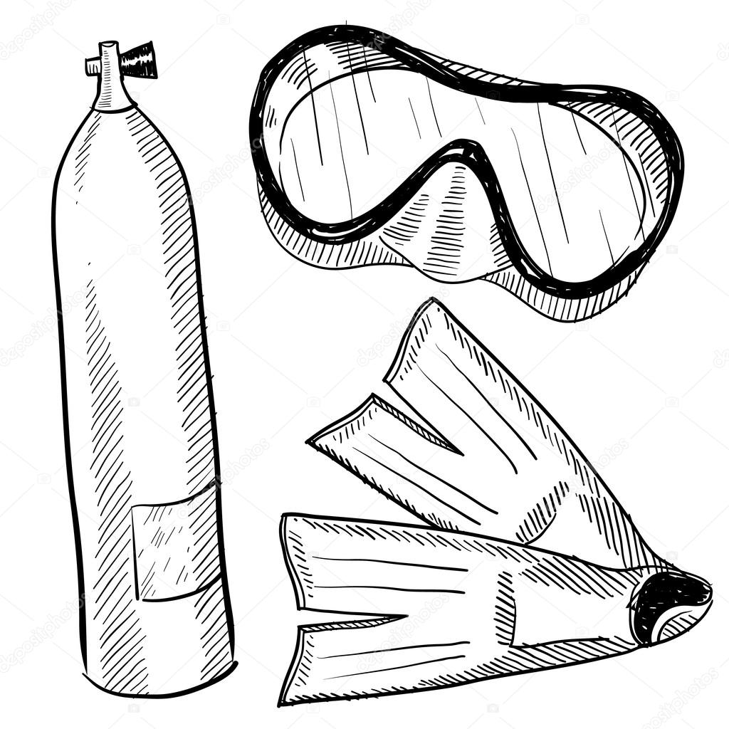 Uncategorized How To Draw A Scuba Diver scuba diving objects sketch stock vector lhfgraphics 13988177 doodle style gear in format including mask fins and air tank by lhfgraphics