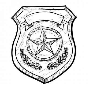 Police or firefighter badge sketch
