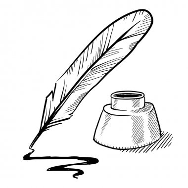 Quill pen and inkwell sketch