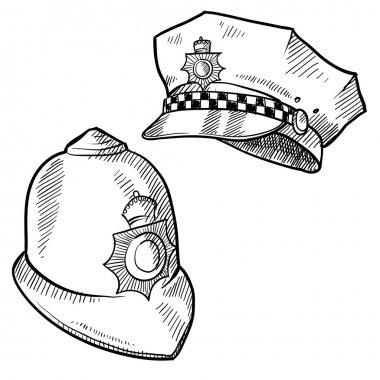 Police hats sketch