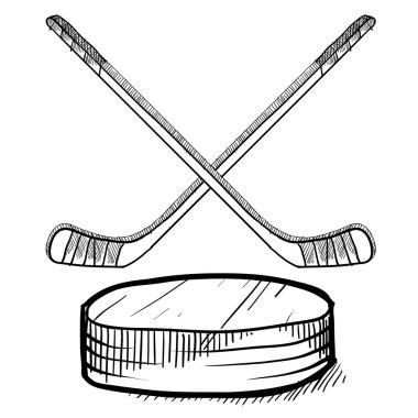 Hockey sticks and puck sketch