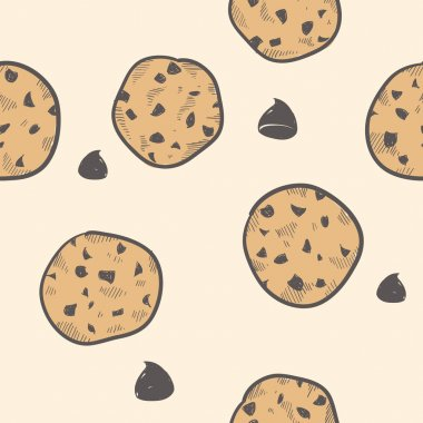 Seamless chocolate chip cookie vector background