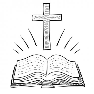 Bible and cross sketch